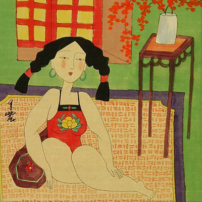 Lady in Waiting - Chinese Modern Art Painting
