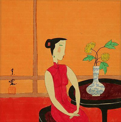 Lady in Waiting<br>Chinese Modern Painting Painting