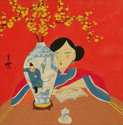 Asian Woman and Flower Vase<br>Modern Art Painting