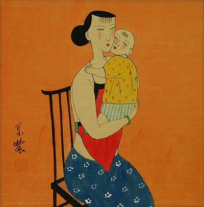 Elegant Chinese Mother and Son<br>Modern Painting Painting