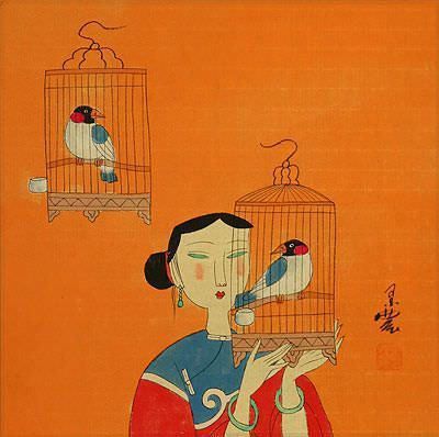 "See how ""Elegant Chinese Bird Cages - Modern Art Painting"" would look after being professionally framed"