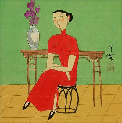 Asian Lady and Cat<br>Modern Chinese Painting Painting