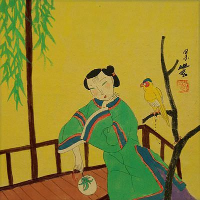 Woman and Parrot<br>Chinese Modern Art Painting