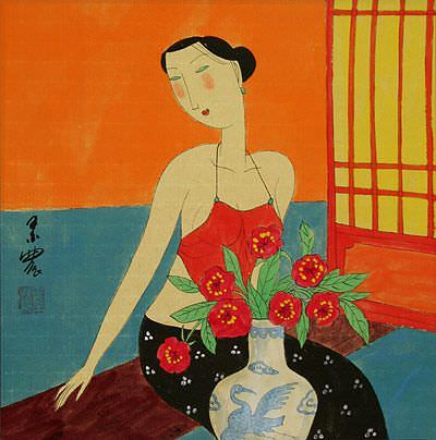 Sexy Chinese Woman - Modern Art Painting