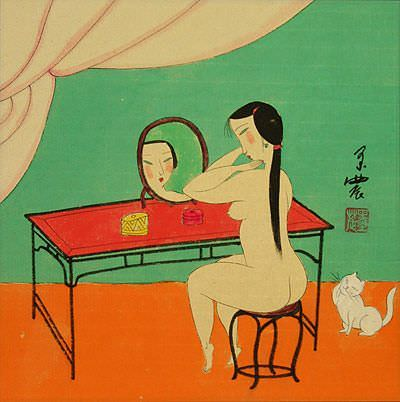 Nude Chinese Woman Mirror Gazing<br>Modern Painting Painting