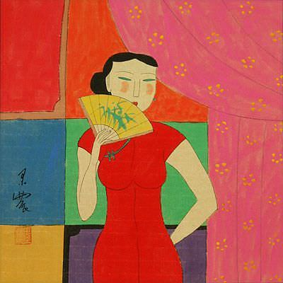 Asian Woman and Fan<br>Modern Asian Art Painting