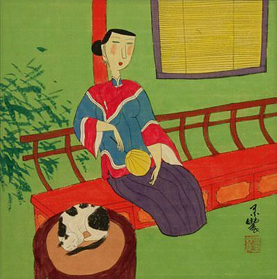 Lady in Waiting<br>Oriental Modern Art Painting