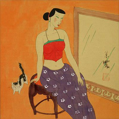 Asian Woman with Cat<br>Modern Chinese Art Painting