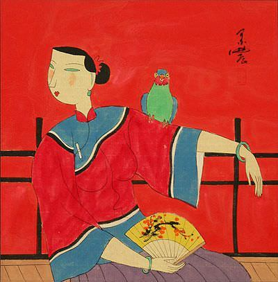 Elegant Chinese Lady with Parrot - Modern Art Painting