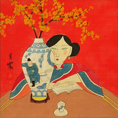 Asian Woman and Flower Vase - Modern Art Painting