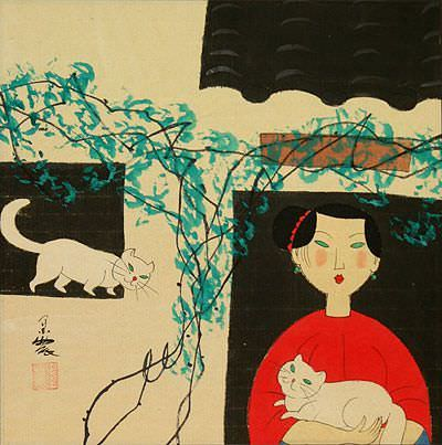 Woman and Cats<br>Chinese Modern Art Painting