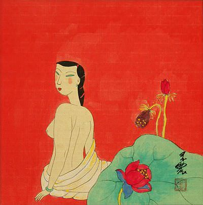 Hanging Out in the Nude with Flowers<br>Modern Asian Art Painting
