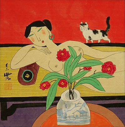 Nude Asian Woman on Bed with Cat - Modern Art Painting