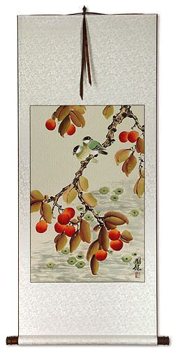 Birds and Loquat Fruit Wall Scroll
