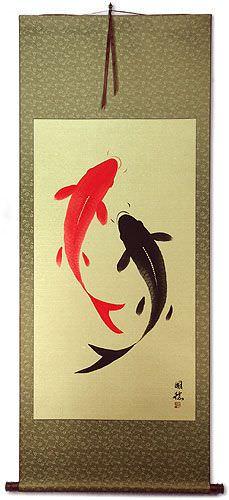 Large Yin Yang Fish Wall Scroll