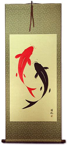 Large Yin Yang Fish Wall Scroll