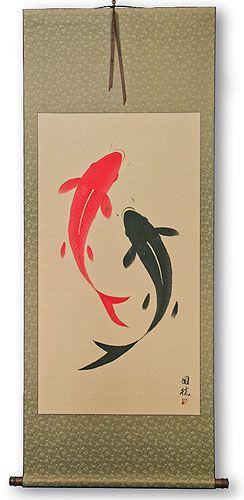 Yin Yang Fish - Jumbo-Size Wall Scroll
