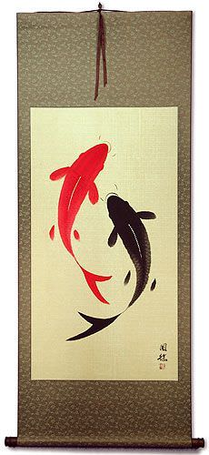Yin Yang Fish<br>Jumbo-Size Wall Scroll