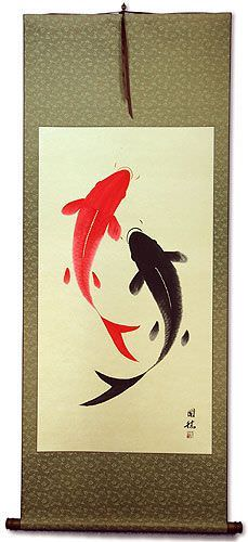 Yin Yang Koi Fish Large Asian Scroll
