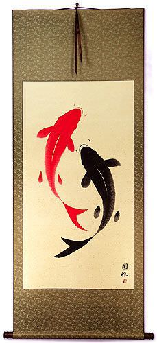 Yin Yang Koi Fish Big Asian Scroll