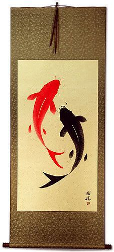 Yin Yang Koi Fish Big Chinese Scroll