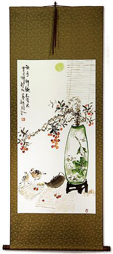 Traditional Antique-Style Plum Blossom Still Life<br>Large Wall Scroll