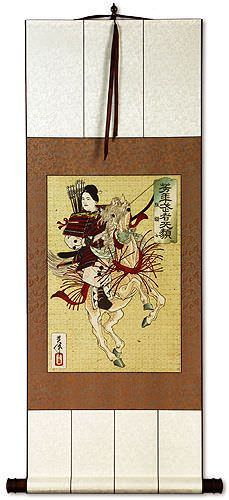 Female Samurai  Hangaku - Japanese Woodblock Print Repro - Wall Scroll