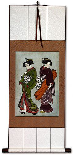 Geisha & Servant Carrying a Shamisen Box<br>Japanese Print<br>Wall Scroll