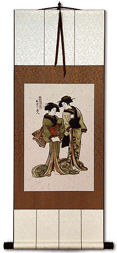 Beauties of the East<br>Japanese Woodblock Print Repro<br>Wall Scroll