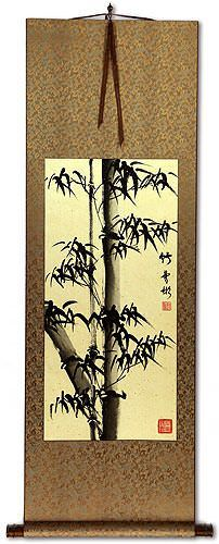Asian Black Ink Bamboo Wall Scroll