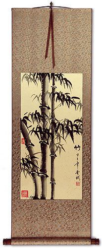 Asian Bamboo on Copper Brocade WallScroll