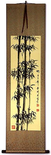 Black Ink Chinese Bamboo Silk Wall Scroll