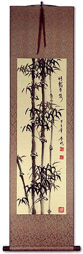 Peaceful Chinese Bamboo Wall Scroll