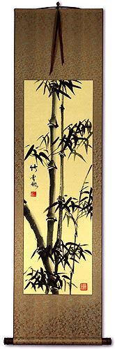 Black Ink Chinese Bamboo WallScroll