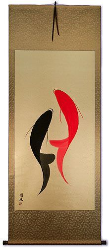 Large Abstract Yin Yang Symbol Fish Asian Wall Scroll