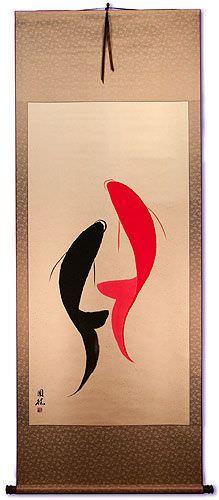 Yin Yang Koi Fish Oriental Scroll
