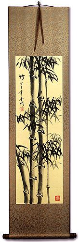 Tall Chinese Ink Bamboo Silk Wall Scroll