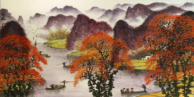 "See how ""Big Li River Landscape Painting"" would look after being professionally framed"