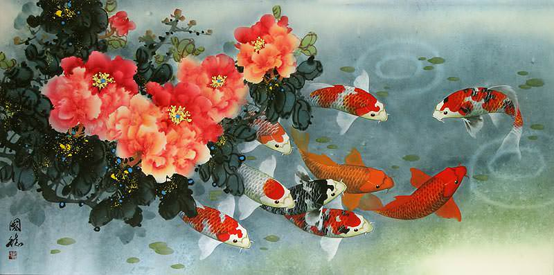"See how ""Koi Fish and Peony Painting"" would look after being professionally framed"