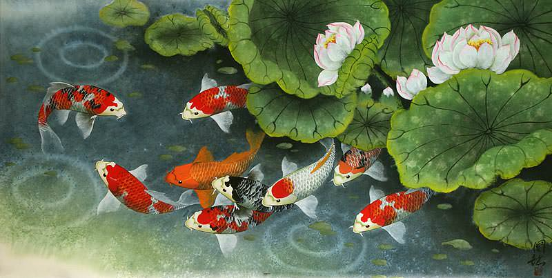"See how ""Koi Fish and Lillies Feeding Time Painting"" would look after being professionally framed"