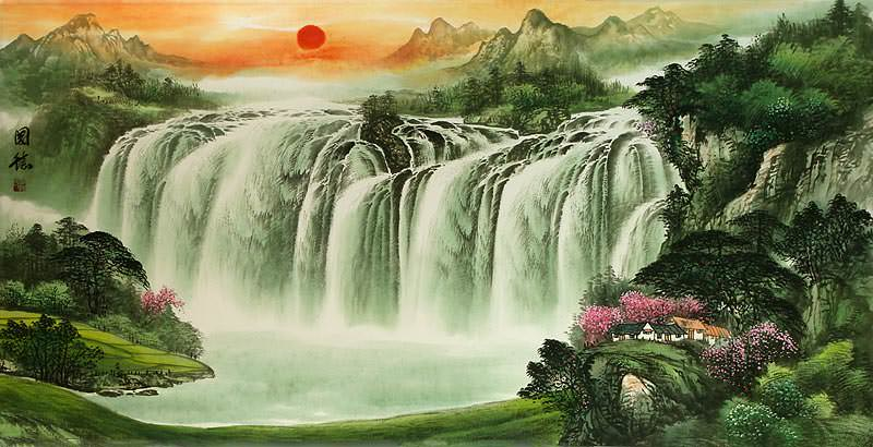 Huge Asian Waterfall Landscape