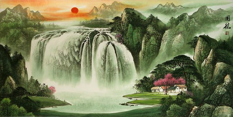 "See how ""Big Chinese Waterfall Landscape"" would look after being professionally framed"