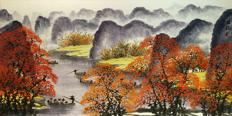 "See how ""Huge Li River Landscape Painting"" would look after being professionally framed"