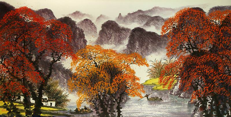 "See how ""Li River Large Landscape Painting"" would look after being professionally framed"