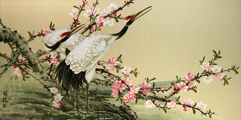 Large Chinese Cranes and Blossoms Painting