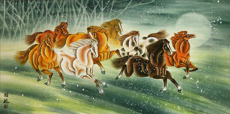 Running Horses - Large Chinese Painting