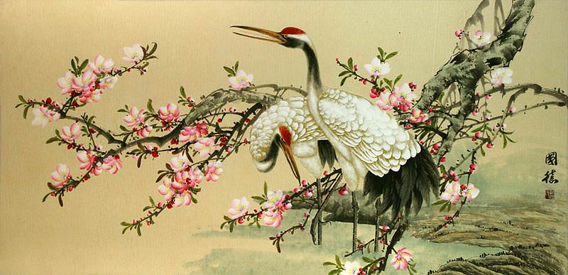 Large Asian Cranes and Blossoms Painting