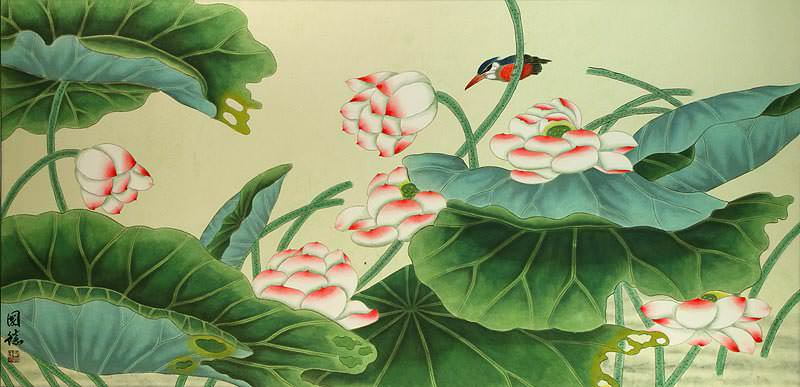 Little Bird and Beautiful Lotus Painting