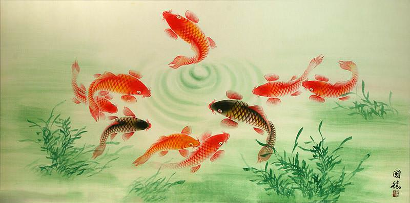 Chinese Koi Fish Large Painting