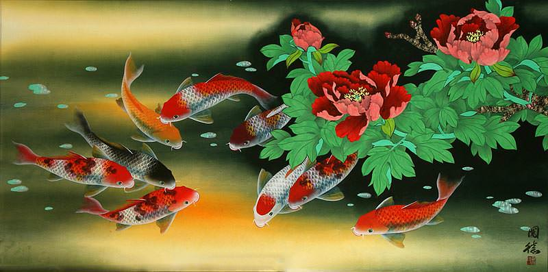 "See how ""Large Koi Fish and Peony Flower Painting"" would look after being professionally framed"